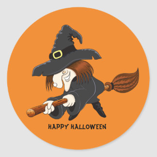 Scary Old Witch Round Sticker