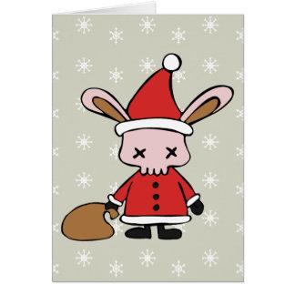 Scary Pink Xmas Bunny Greeting Card