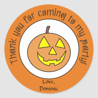 Scary Pumpkin Custom Halloween Party Stickers