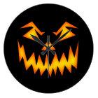 Scary Pumpkin Face Large Clock