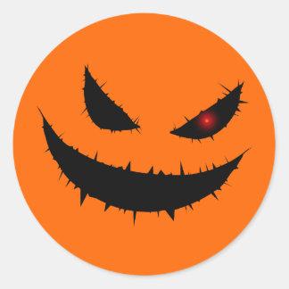 Scary Pumpkin Face Round Sticker