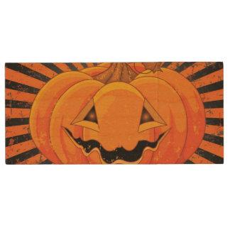 Scary Pumpkin Jack O' Lantern Wood USB 2.0 Flash Drive