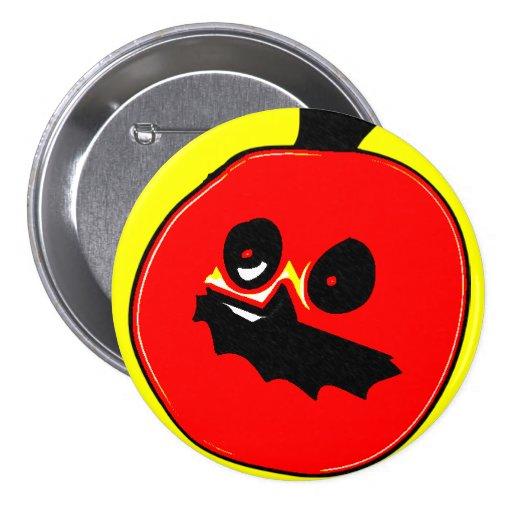 Scary Pumpkin Retro Halloween Button