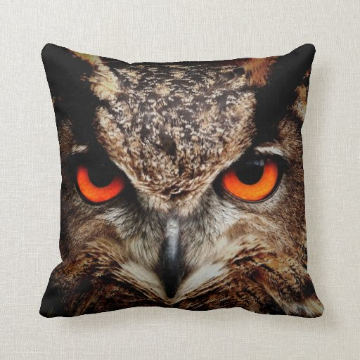 Scary Red Eyes Eagle Owl Pillow