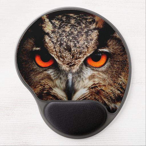 Scary Red Eyes Eagle Owl Gel Mouse Pad