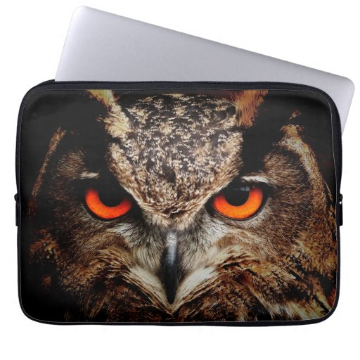 Scary Red Eyes Eagle Owl Computer Sleeve