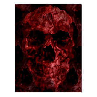 Scary red gothic skull of horror post card
