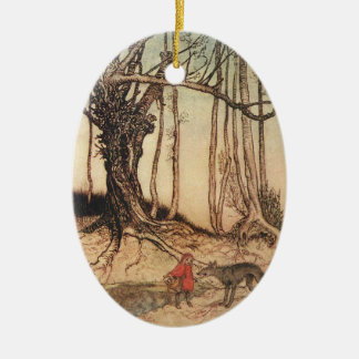 Scary Red Riding Hood Ceramic Ornament