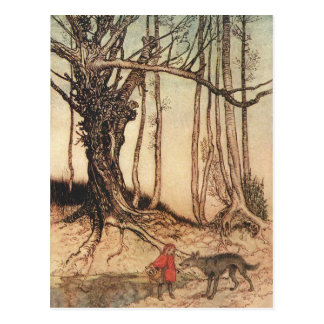 Scary Red Riding Hood Postcard