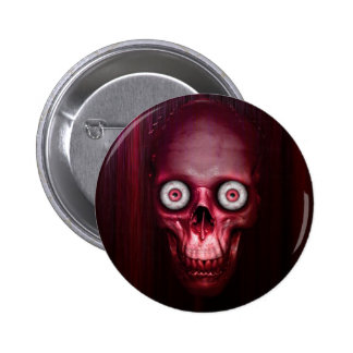 Scary red skull pinback button