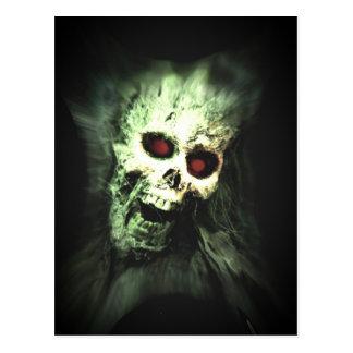 Scary screaming skull postcard