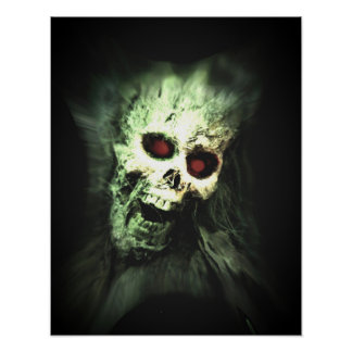 Scary screaming skull poster