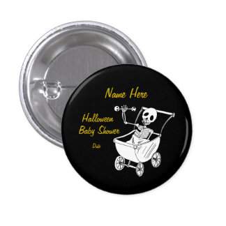 Scary Skeleton Baby Shower Pin Buttons