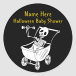 Scary Skeleton Baby Shower Round Stickers