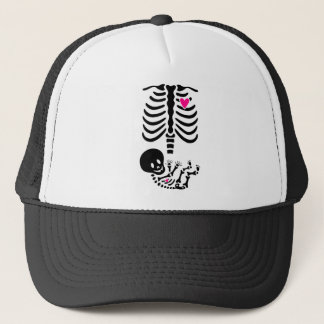 Scary Skeleton Pregnant Halloween Tshirt Trucker Hat