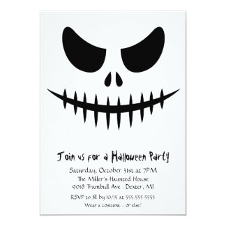 Scary Skeleton zombie Face Halloween Costume Party 13 Cm X 18 Cm Invitation Card
