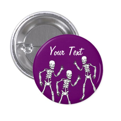 Scary Skeletons Halloween Pin Button