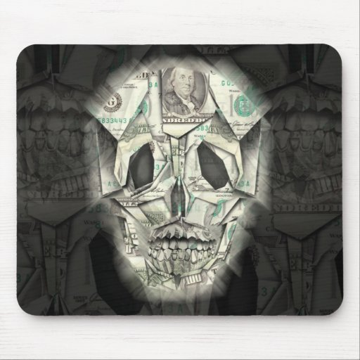 Scary Skull Black Mouse Pad