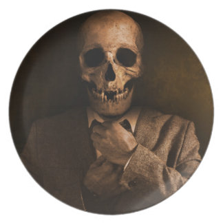 Scary Skull Man in Suit Plate