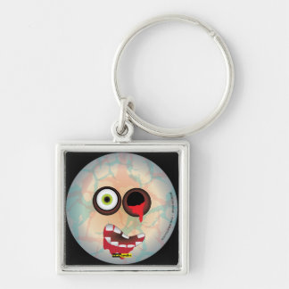 Scary Smiles -  Zombie Silver-Colored Square Key Ring