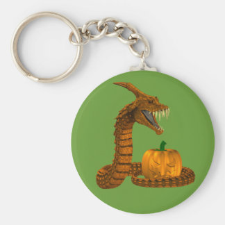 Scary Snake Protecting A Pumpkin Basic Round Button Key Ring