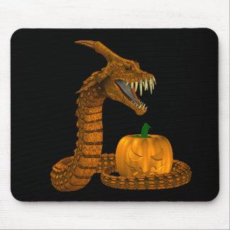 Scary Snake Protecting A Pumpkin Mousepad