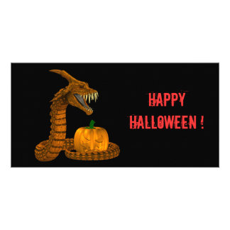 Scary Snake Protecting A Pumpkin Photo Greeting Card