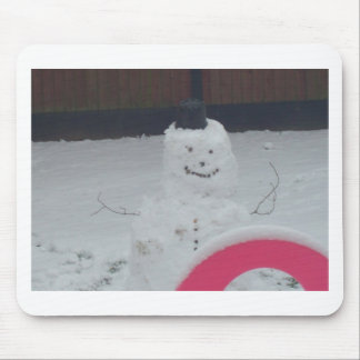 scary snowman mouse pad