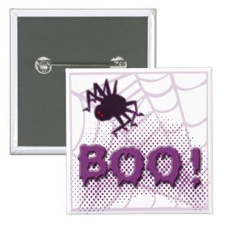 Scary spider 15 cm square badge