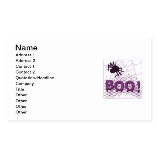 Scary spider business card templates