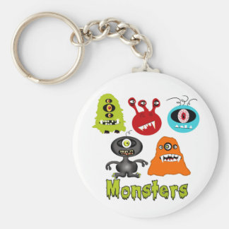 Scary Spooky Monsters Aliens Creatures Basic Round Button Key Ring