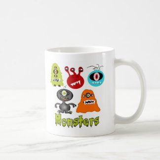 Scary Spooky Monsters Aliens Creatures Basic White Mug