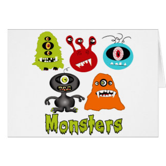 Scary Spooky Monsters Aliens Creatures Greeting Cards