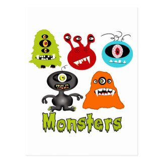 Scary Spooky Monsters Aliens Creatures Postcard