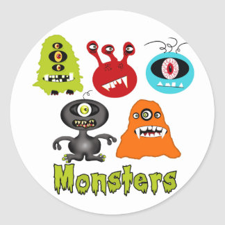 Scary Spooky Monsters Aliens Creatures Round Sticker