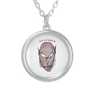 Scary Vampire Drawing Silver Plated Necklace