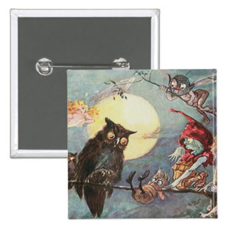 Scary Vintage Owl and Fairy - Maybank Halloween 15 Cm Square Badge