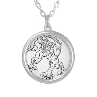Scary Werewolf  Monster Character Silver Plated Necklace