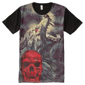 Scary Werewolf Skull Howl Dark Horror Art All-Over Print T-Shirt