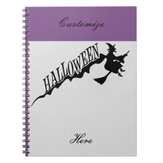 Scary Witch Riding Broom Halloween Thunder_Cove Notebook