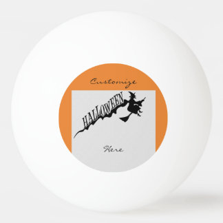 Scary Witch Riding Broom Halloween Thunder_Cove Ping Pong Ball