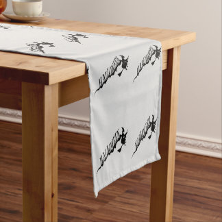 Scary Witch Riding Broom Halloween Thunder_Cove Short Table Runner