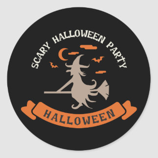 Scary Witch. Trick or Treat. Halloween Party Classic Round Sticker