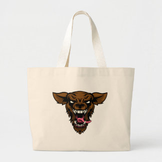 Scary Wolf or Werewolf Mascot Large Tote Bag