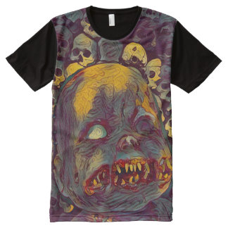 Scary Zombie Horror Doll With Skulls Dark Art All-Over Print T-Shirt