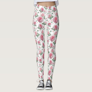 Scatter Pink Roses Pattern Leggings