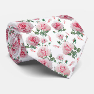 Scatter Pink Roses Pattern Tie