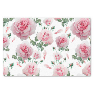 Scatter Pink Roses Pattern Tissue Paper