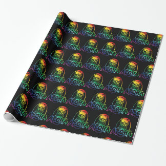 Scattered Aloha Hawaiian Collage Wrapping Paper