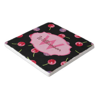 Scattered Cherries Watercolor Personalized Trivets
